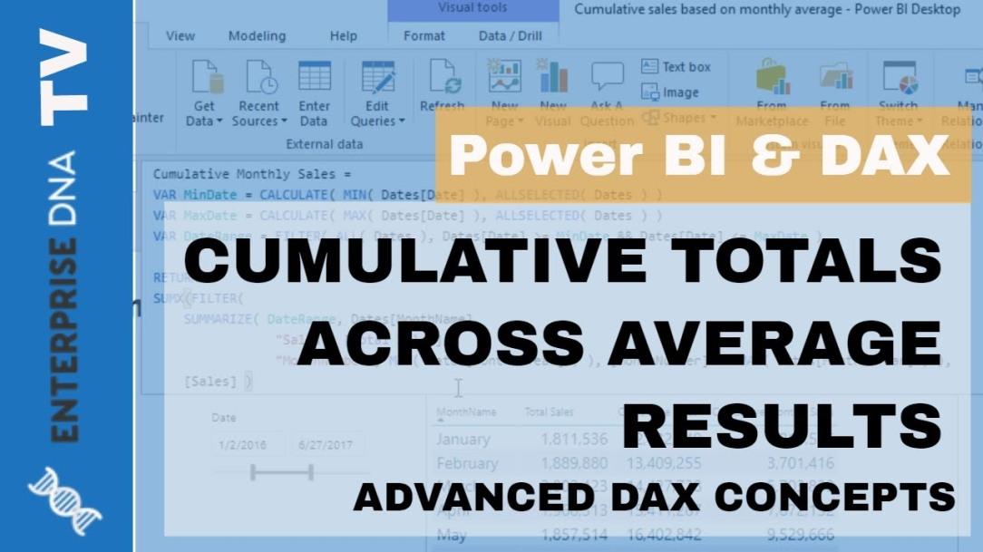 Cumulative Totals Across Averages & Dynamic Date Logic - Advanced DAX