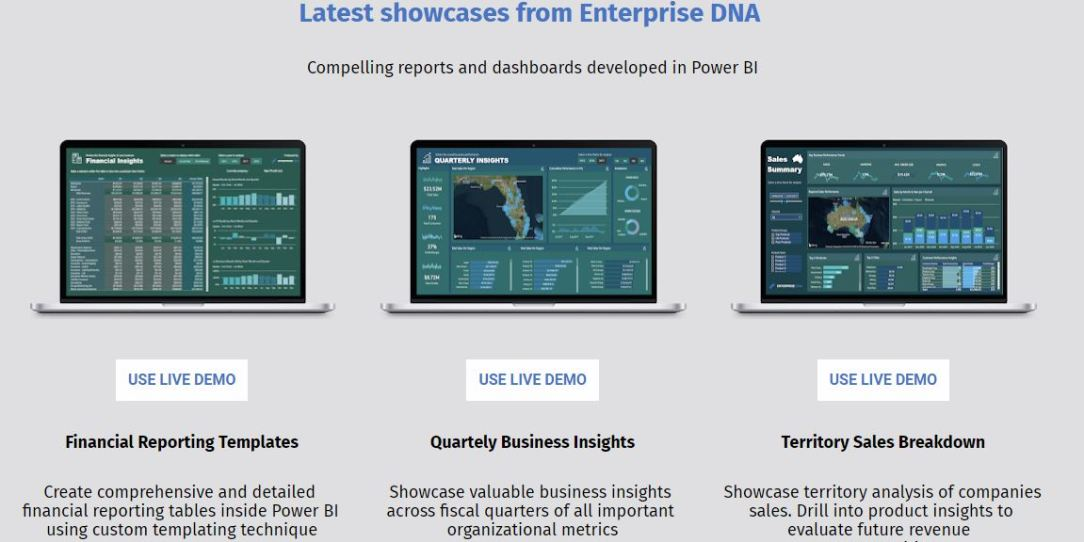 3 New Power BI Showcases Now Available For Viewing At Enterprise DNA