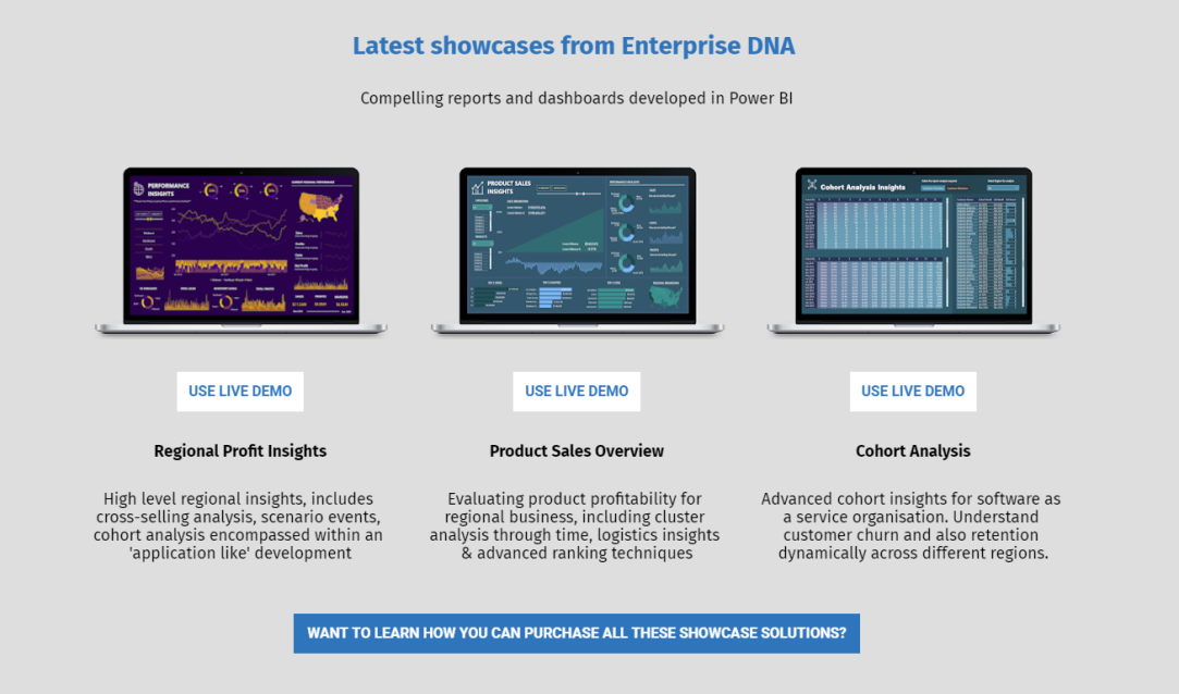 3 Brand New Power BI Showcases Available For Viewing At Enterprise DNA